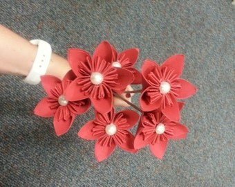 Petite Red w/White Pearls Paper Flower Bouquet with Hay Paper Stems