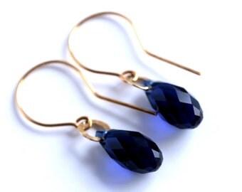 Swarovski Crystal Navy 24k Gold Plated Sterling Silver Wedding Earrings