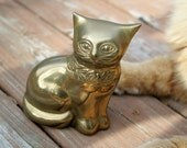 Brass Cat Figurine Deep Patina