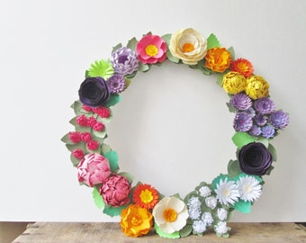 Colorful Paper Flower Wreath - Wildflowers - Paper Flowers - Spring Wreath