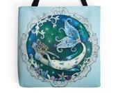 Mermaid Tote Bag Beach Bag Hippie Tote Bag Boho Tote Bag Blue Tote Bag Shoulder Bag Shopping Bag Book Bag Large Handbag Mermaid Lovers Gift