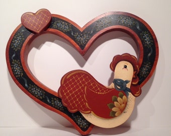 Hand Painted Wood  Wall Hanging, Country Chicken in Heart Wall Decor