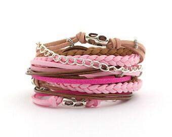 Women bracelet, Pink Fuchsia Brown Boho Wrap Bracelet, Hippie Gypsy Style Bracelet, Bohemian Jewelry, vegan bracelet, Mothers day gift