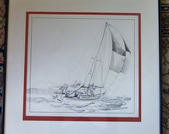 Original Pen Ink Sailboat Scene Art Illustration Drawing Signed by W. Sellers 1970 Vintage Frame Retro Nautical Art Pacific Northwest Art