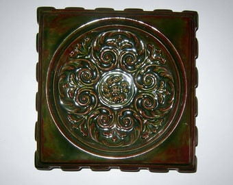 Vintage Atlantic Mold Ashtray A772 Spanish Ornate Tray Ceramic Retro Earth Tones Glazed Rare