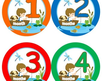 Baby Monthly Milestone Growth Stickers Fishing Boy Fishing MS504 Nursery Theme Baby Shower Gift Baby Photo Prop