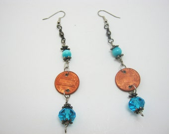 Penny for Your Thoughts Blue Wire Earrings