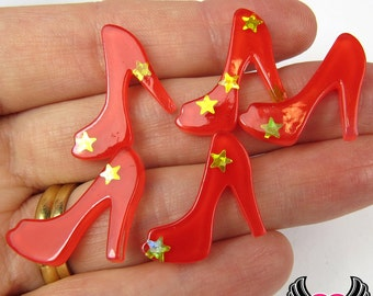 6 pc Red Star HIGH HEEL SHOES Girly Resin Flatback Decoden Cabochon 19x22mm