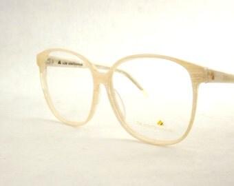 Huge Womens Eyeglasses, Vintage Liz Claiborne Designer Frames, Marbled Wood Grain Tan White