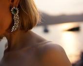 Roxanne - Emerald Swarovski Crystals Wedding Earrings, Statement Earrings - Made to Order