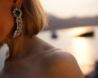 Roxanne - Emerald Swarovski Crystals Wedding Earrings, Statement Earrings - Ready to Ship