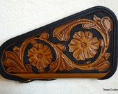 IN STOCK Leather Pistol Case with Hand Tooled Western Floral Pattern