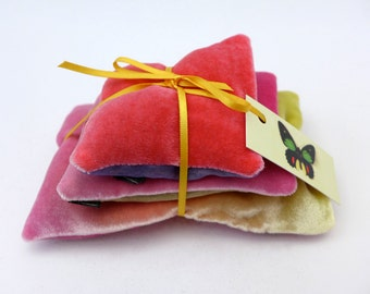 Pillows, English lavender set of three hand-painted sachets in various tones of pink & yellow velvet/organza. Holiday gifts, ready to ship