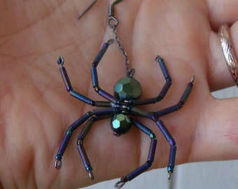 Green Blue metallic Spider Earrings - Teal Green Round Crystals - Beaded - Steam Punk - gothic - Christmas - Aracnid - Creepy Crawly
