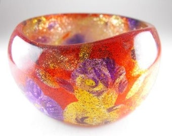 Large Domed Bangle Bracelet Vintage Plastics Glittery Floral Design Rich Color Freeform Design