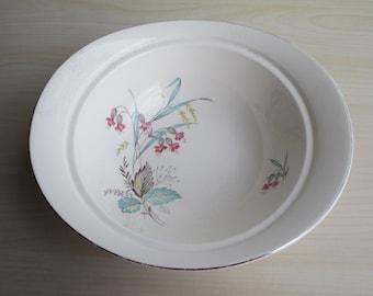 Deep Vegetable Serving Bowl - Vintage English Johnson Bros China Bowl, England, Pastel Floral Flowers Mid Century Modern Retro Kitchen