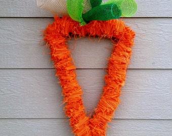 READY TO SHIP! Burlap Carrot Wreath - Easter Wreath - Spring Wreath