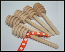 "25- 4"" Wood Honey Dippers, Wedding Honey Dippers, Mini Honey Dipper, Honey Spoon- Bulk Discounts"