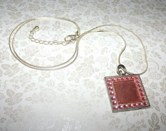 Carnation Pink Crystals Mosaic Necklace