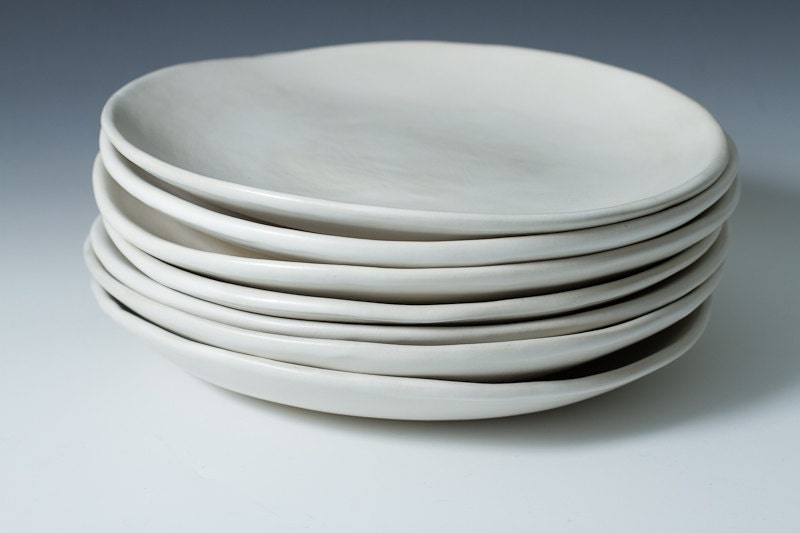 9 matte white stoneware plate ceramic pottery handmade