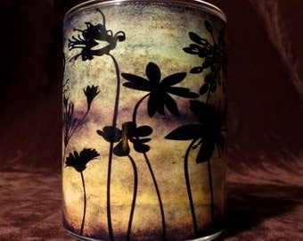 Flower silhouette image Candle holder/ luminary