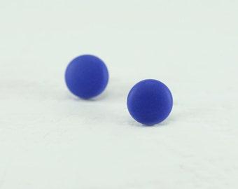 Cobalt Blue Stud Earrings - Matte Cobalt Blue Earrings - Mens Earrings - Mens Studs - Earrings for Men - Matte Cobalt Blue Studs - Gifts