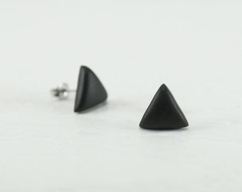 Black Triangle Stud Earrings - Triangle Earrings - Matte Black Studs - Matte Triangle Black Earrings - Mens Earrings - Earrings for Men