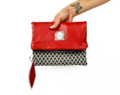 "Red Leather Fold Over Clutch, Black and White Chevron Knit, Unique Evening Bag with Feather Zipper Pull, Birdbags ""Pelican"" Clutch"