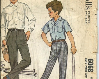 VTG Early 1960s McCall's 6068 Boys Shirt and Pants Pattern, Size 4 UNCUT
