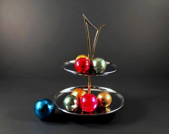 Vintage Two 2 Tier Round Chrome Butler Mid Century Snack Server with Gold Handle