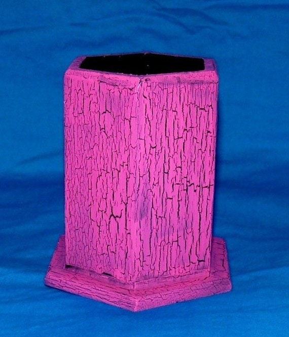 Elegant Pencil Holder Wood Pen Case Office Organizer Desk Hand Painted Hot Pink Crackle Custom