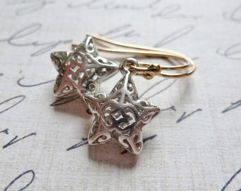 Star Earrings / Filigree Stars / Celestial Dangle Earrings / Petite Puffed Stars / Star Gazer / Sky / SimplyJoli