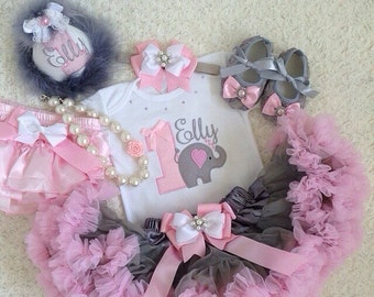 Elephant Birthday outfit- include personalised top,matching headband,Super fluffy skirt,necklace and shoes