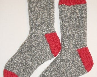 Hand Knit Mens SMALL or Womens MEDIUM 100% Wool Heavy Boot, Hiking, Skiing, Snowboarding Socks (B-034)