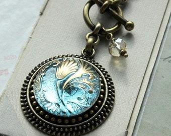 March Birthday Necklace, Piercing Aquamarine necklace, March Birthday Gift, Nouveau Tulip Design, Czech Glass Button Jewelry veryDonna