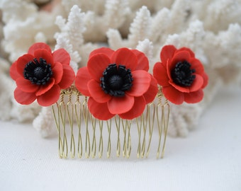 Trio Red Poppy/Anemone Hair Comb, Red Poppy Hair Accessories, Red Poppy Bridal Hair Comb