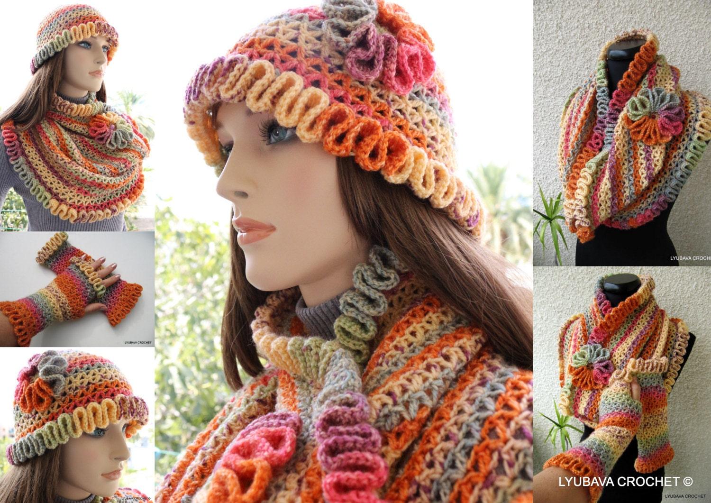 UNIQUE CROCHET PATTERNS Women's Hat Scarf Cowl by ...