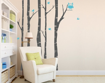 Birch Tree With Owl And Birds - Vinyl Wall Decal - Nature Sticker
