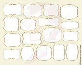 GOLD Digital Frame Business Clipart COMMERCIAL USE White Middle Simple Basic Shapes Cardmaking Craft Teacher Diy Invitation Tag Label 10537