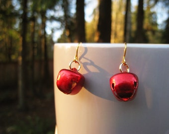 Red Holiday Jingle Bell Dangle Earrings with Gold Findings