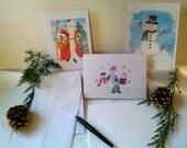 Set of Three Christmas/Holiday Greeting Cards w/Envelopes - Old-Tyme Santa Claus, Snowman