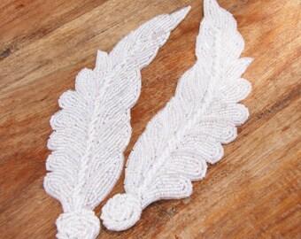 White Feather Applique, White Beaded Applique - 1 PAIR - Head Pieces, White Beaded Headband Applique, Apparel, Wedding, Bridal, DIY Applique