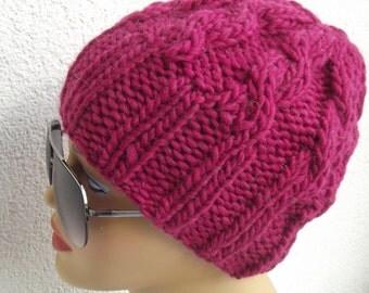 pink knit beanie beret accessories knit beanie beret valentine day  gift knit beret