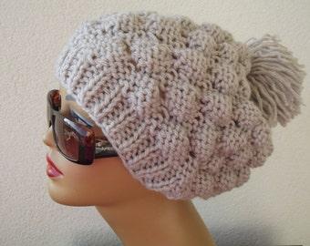 Women Knit Berets,Womens knit winter hat, beige hat,women winterberet, Warm beige beanie Chunky winter hat,hat knit beanie