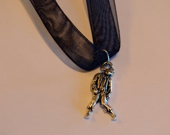 "Antique Silver color Pewter Zombie Charm Black Ribbon Necklace ca. 18"" x 26mm"