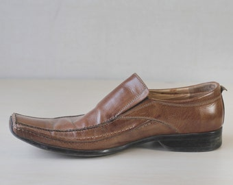 Brown leather elongated square toe men classic shoes 9