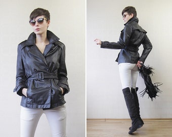 Black brown waxed leather double breasted belted jacket M