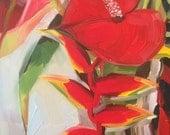 Heliconia Anthurium Original Oil Painting