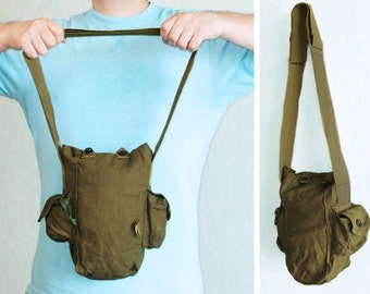 Vintage Crossbody Messenger Bag - Soviet Gas Mask Bag, Men's Small Bag, Military Bag