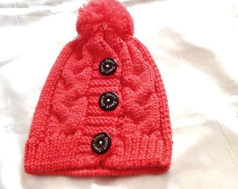SALE----Teen or adult knitted Pom Pom hat -watermelon color adult snow hat -winter hat